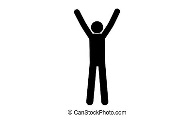 Pictogram man joyful gesture hands up. Loop animation with...