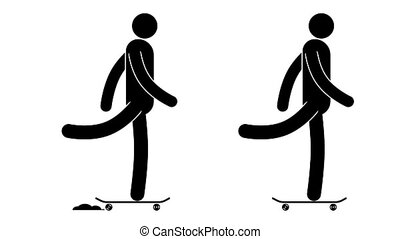 Pictogram man rides a skateboard. icon prople. Loop...
