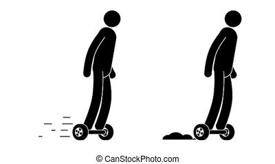 Pictogram man riding a GyroScooter. People icon. Individual...
