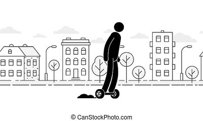 Pictogram man riding a hoverboard on the urban landscape...
