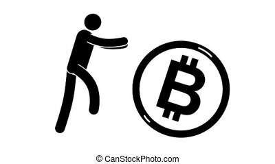 Pictogram man runs with arms outstretched in pursuit of rolling bitcoin