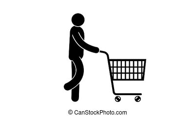 Pictogram man walks with a shopping cart on wheels. Looped...