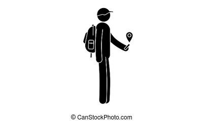 Pictogram man with a backpack is guided by the GPS navigator...