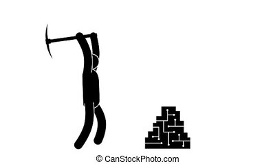 Pictogram man with a pickaxe mining Bitcoins. Loped...