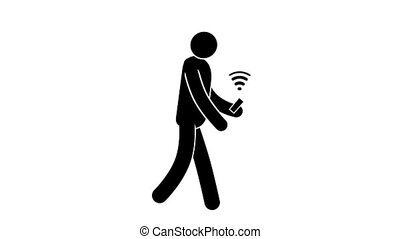 Pictogram man with smartphone used Wi-fi on the go. Loop...
