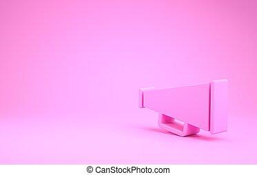 pictogram, megafoon, 3d, roze, minimalism, illustratie, achtergrond., render, vrijstaand, concept.
