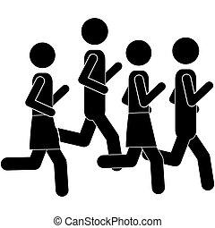 pictogram men jogging in marathon