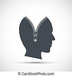 pictogram, menselijk hoofd, binnenkant., zipper, vector