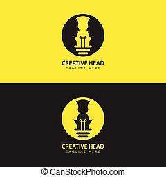 pictogram, menselijk, logo, smart, hoofd, idee, gloeilamp, vector, gezicht