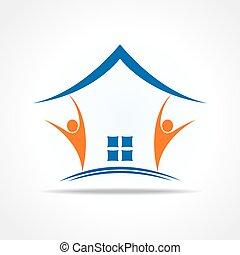 pictogram, mensen, thuis, maken