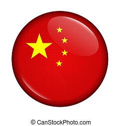 pictogram, met, vlag, van, china, vrijstaand