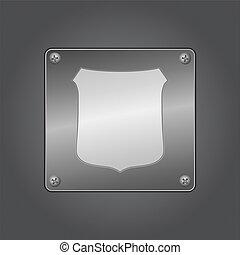 pictogram, metaal, schild, plank