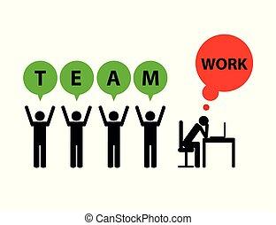 pictogram, mobbing, simbolo, affari, lavoro squadra