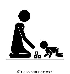 pictogram mom playing baby with cubes