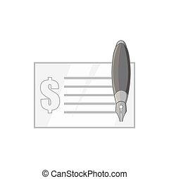 pictogram, monochroom, stijl, black , checkbook