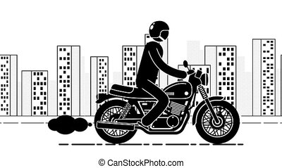Pictogram motorcyclist rides against the backdrop of a large...