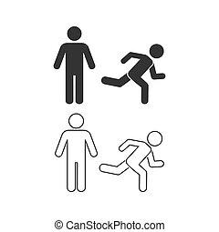 pictogram, navigatie, wayfinding, set, illustration., stander, rennende , persoonsmens, lijn, uitvoeren, staand