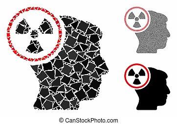 pictogram, nucleair, samenstelling, items, ruw, denken, hoofd