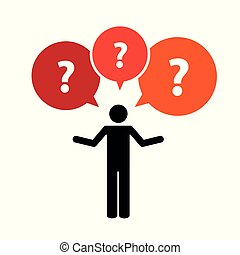 pictogram of a man with question mark talk bubbles