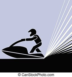 Pictogram of a person riding jet-ski.
