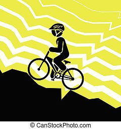 Pictogram of a person riding mountain bike on extreme road....
