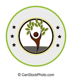 pictogram of circular frame with tree with human form vector...