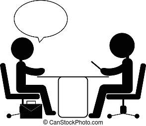 job interview - pictogram of job interview vector eps10