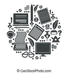 pictogram, of, storytelling, copywriting, uitrusting,...