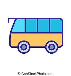 pictogram, omtrek, illustratie, symbool, bus, vrijstaand, vector.