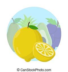 pictogram, ontwerp, citroen, fruit, plat