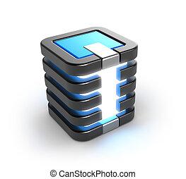 pictogram, opslag, kelner, databank