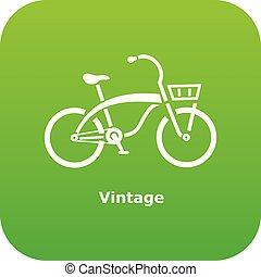 pictogram, ouderwetse , stijl, fiets, eenvoudig