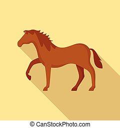 pictogram, paardrijden, paarde, stijl, plat
