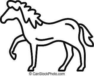 pictogram, paardrijden, paarde, stijl, schets