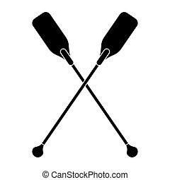 pictogram paddles crossed boat tool vector illustration eps...