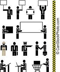 pictogram, persone, vettore, -