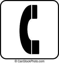 Pictogram Phone - a black and white pictogram on a phone...