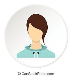 pictogram, plat, meisje, stijl, avatar