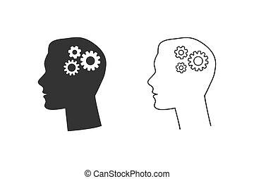 pictogram, plat, menselijk, set, uitdossing kop, binnenkant., illustratie, lijn, vector