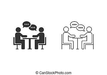 pictogram, plat, raadgevend, set, illustratie, vergadering, zakelijk, stijl, lijn, vector, design.