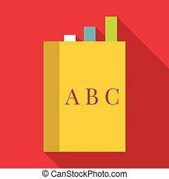 pictogram, plat, stijl, boek, engelse