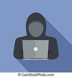pictogram, plat, stijl, computer, dief