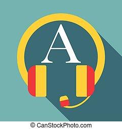 pictogram, plat, stijl, het luisteren