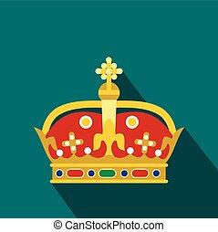 pictogram, plat, stijl, koninklijke kroon