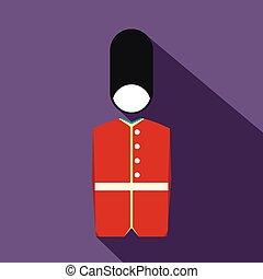 pictogram, plat, stijl, koninklijke lijfwacht