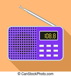 pictogram, plat, stijl, moderne, radio