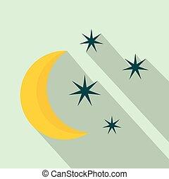pictogram, plat, stijl, sterretjes, maan