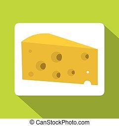 pictogram, plat, stijl, stuk, kaas