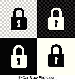 pictogram, privacy, slot, teken., bescherming, vrijstaand, illustratie, transparant, hangslot, vector, achtergrond., black , witte , concept., veiligheid, veiligheid