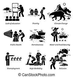 pictogram, problemen, icons., kritiek, maatschappelijke kwesties